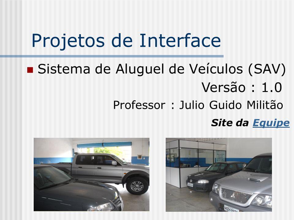 Projetos de Interface Sistema de Aluguel de Veículos (SAV) Versão : 1.0 Professor : Julio Guido Militão Site da EquipeEquipe