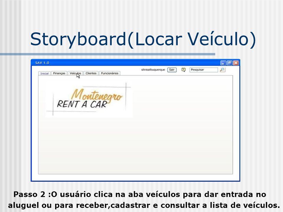 Storyboard(Locar Veículo) Passo 2 :O usuário clica na aba veículos para dar entrada no aluguel ou para receber,cadastrar e consultar a lista de veícul