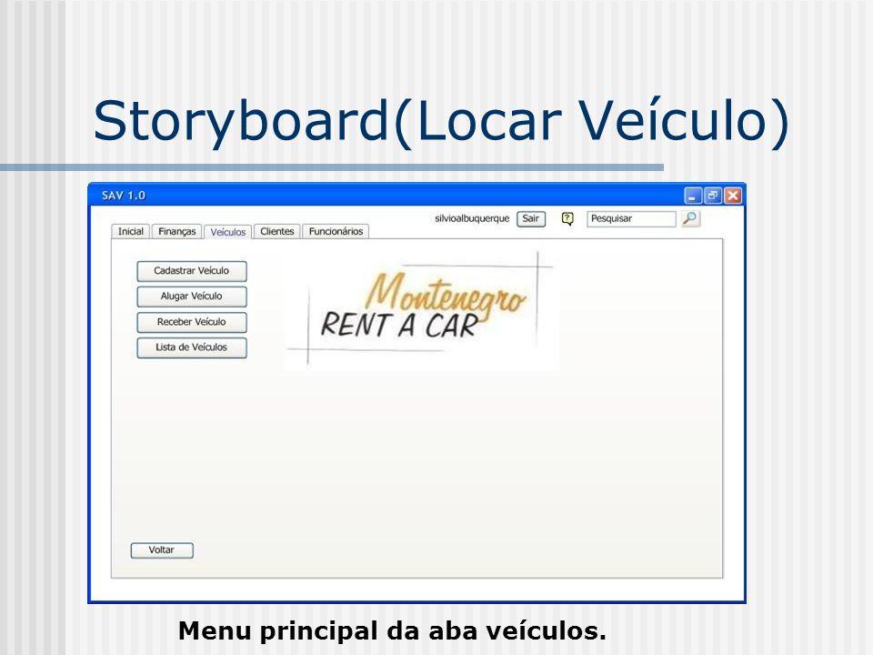 Storyboard(Locar Veículo) Menu principal da aba veículos.