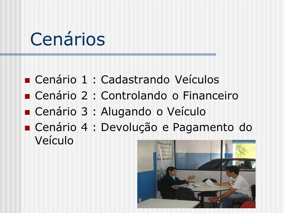 Cenários Cenário 1 : Cadastrando Veículos Cenário 2 : Controlando o Financeiro Cenário 3 : Alugando o Veículo Cenário 4 : Devolução e Pagamento do Veí