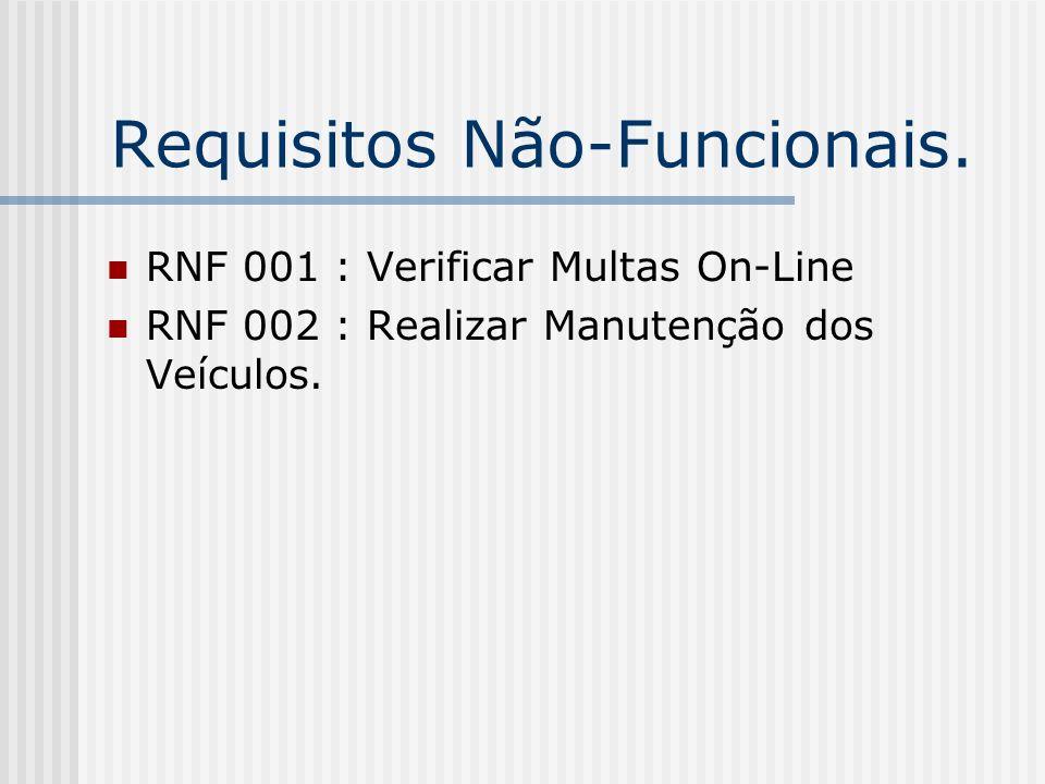 Requisitos Não-Funcionais. RNF 001 : Verificar Multas On-Line RNF 002 : Realizar Manutenção dos Veículos.