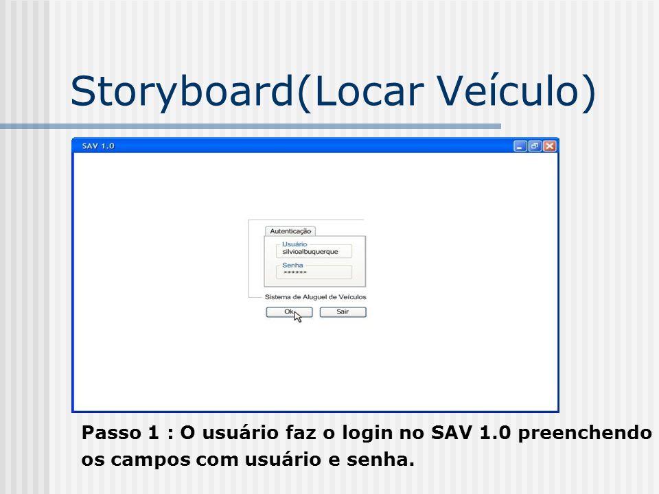 Storyboard(Locar Veículo) Passo 1 : O usuário faz o login no SAV 1.0 preenchendo os campos com usuário e senha.
