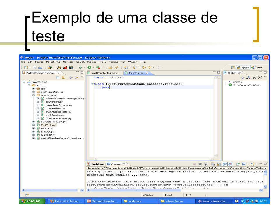 Exemplo de uma classe de teste
