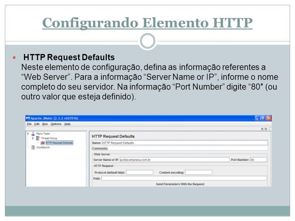 Configurando Elemento HTTP HTTP Request Defaults Neste elemento de configuração, defina as informação referentes a Web Server. Para a informação Serve