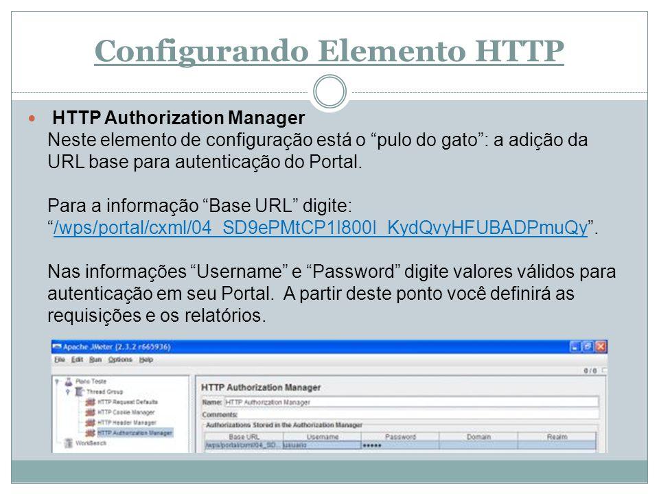 Configurando Elemento HTTP HTTP Authorization Manager Neste elemento de configuração está o pulo do gato: a adição da URL base para autenticação do Po
