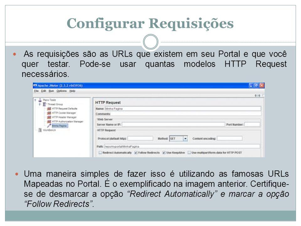 Configurar Requisições As requisições são as URLs que existem em seu Portal e que você quer testar. Pode-se usar quantas modelos HTTP Request necessár