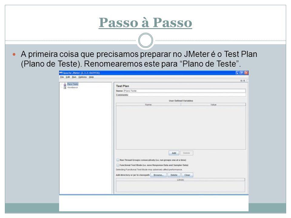 Passo à Passo A primeira coisa que precisamos preparar no JMeter é o Test Plan (Plano de Teste). Renomearemos este para Plano de Teste.