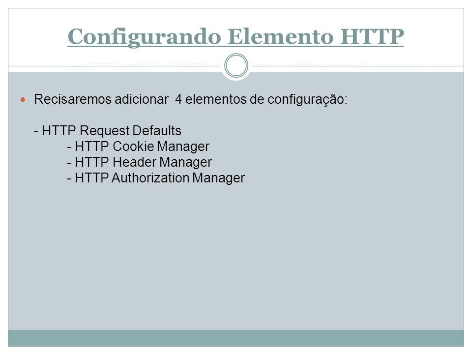 Configurando Elemento HTTP Recisaremos adicionar 4 elementos de configuração: - HTTP Request Defaults - HTTP Cookie Manager - HTTP Header Manager - HT