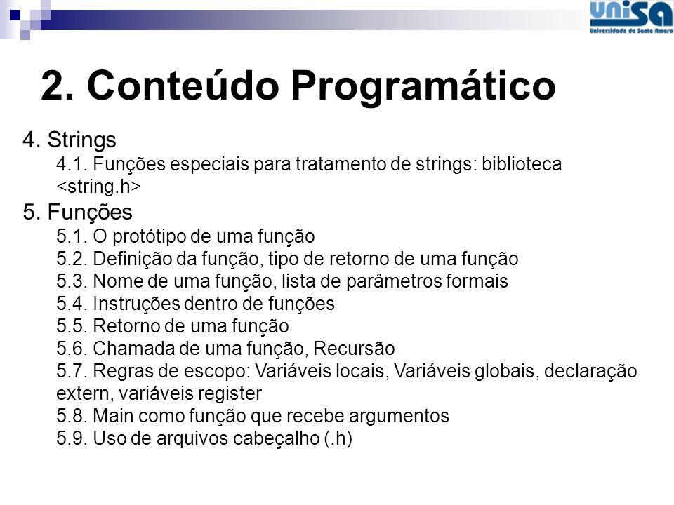 2. Conteúdo Programático 4. Strings 4.1. Funções especiais para tratamento de strings: biblioteca 5. Funções 5.1. O protótipo de uma função 5.2. Defin