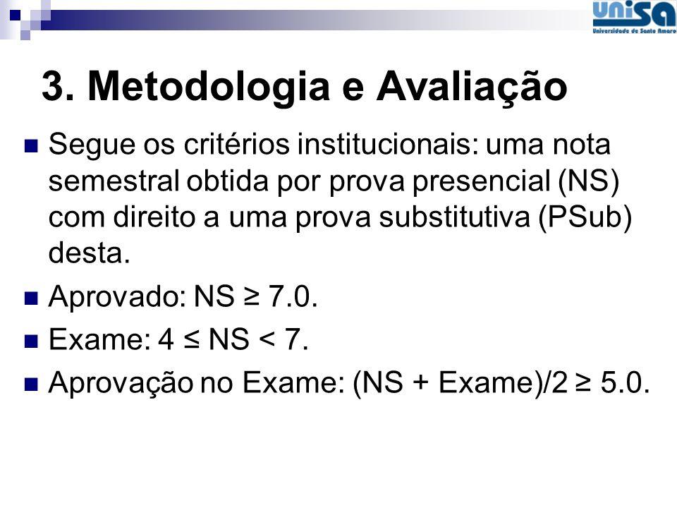 3. Metodologia e Avaliação Segue os critérios institucionais: uma nota semestral obtida por prova presencial (NS) com direito a uma prova substitutiva