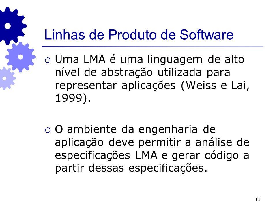 13 Uma LMA é uma linguagem de alto nível de abstração utilizada para representar aplicações (Weiss e Lai, 1999). O ambiente da engenharia de aplicação