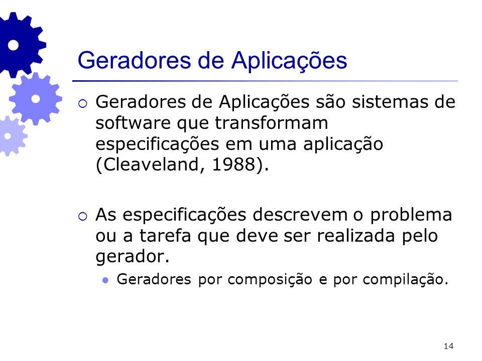 14 Geradores de Aplicações são sistemas de software que transformam especificações em uma aplicação (Cleaveland, 1988). As especificações descrevem o