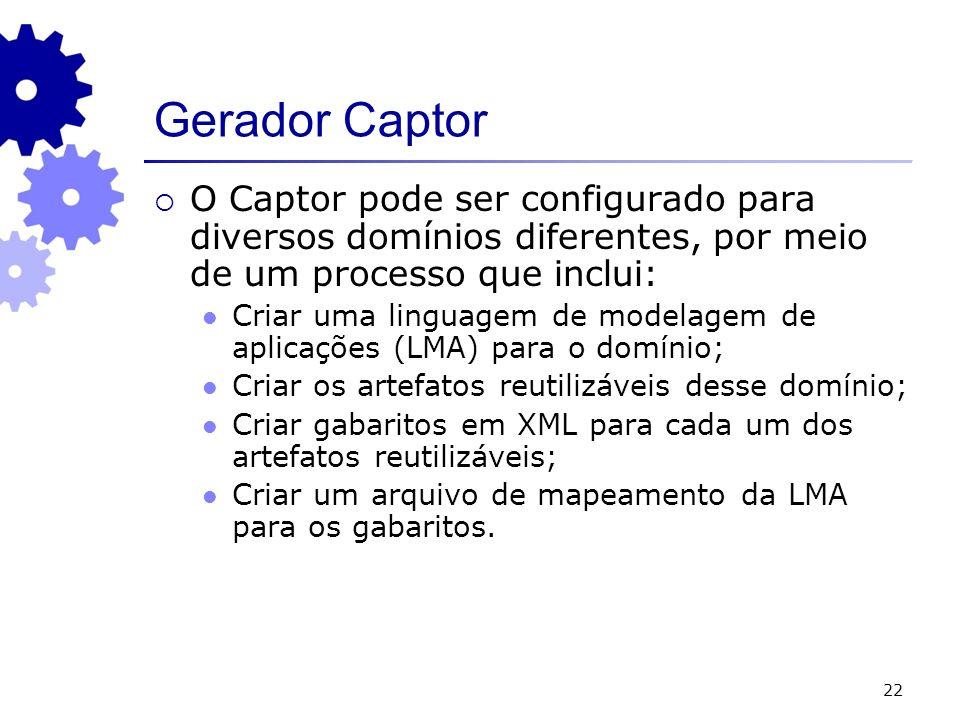 22 Gerador Captor O Captor pode ser configurado para diversos domínios diferentes, por meio de um processo que inclui: Criar uma linguagem de modelagem de aplicações (LMA) para o domínio; Criar os artefatos reutilizáveis desse domínio; Criar gabaritos em XML para cada um dos artefatos reutilizáveis; Criar um arquivo de mapeamento da LMA para os gabaritos.