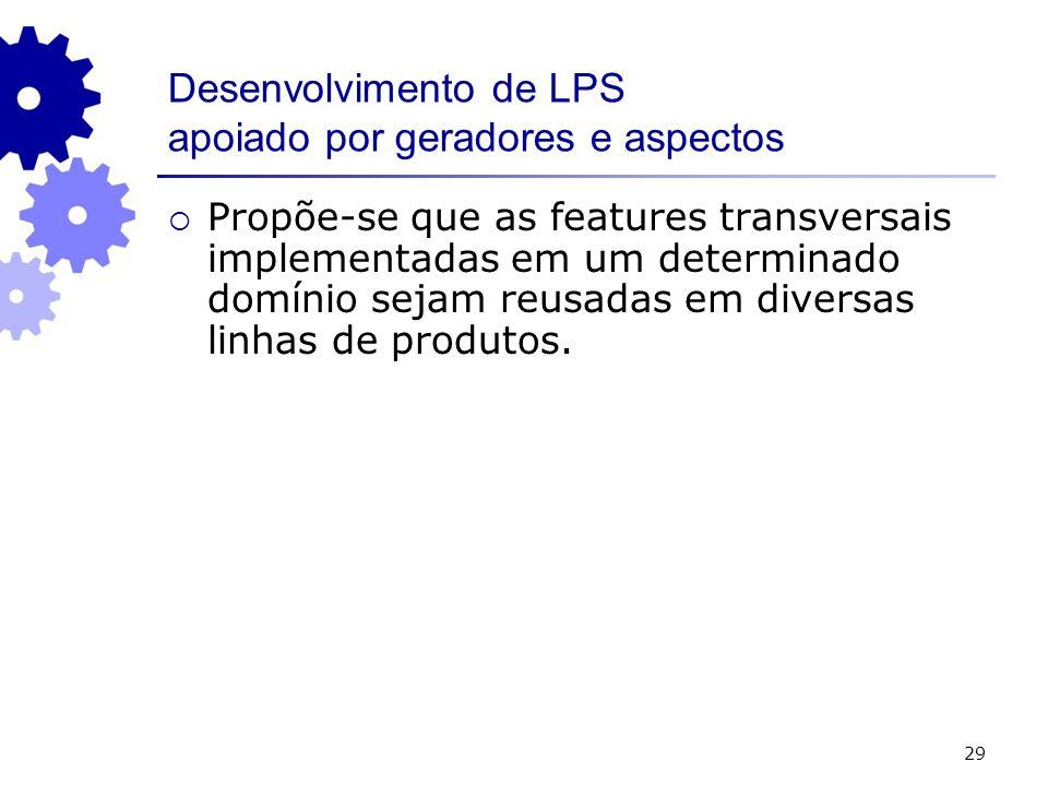 29 Desenvolvimento de LPS apoiado por geradores e aspectos Propõe-se que as features transversais implementadas em um determinado domínio sejam reusadas em diversas linhas de produtos.