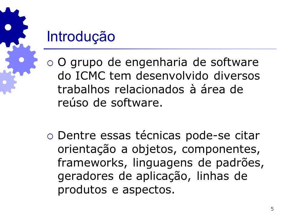 5 Introdução O grupo de engenharia de software do ICMC tem desenvolvido diversos trabalhos relacionados à área de reúso de software.