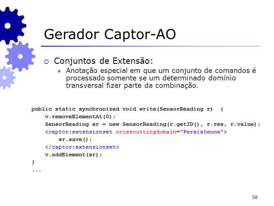 58 Gerador Captor-AO Conjuntos de Extensão: Anotação especial em que um conjunto de comandos é processado somente se um determinado domínio transversal fizer parte da combinação.