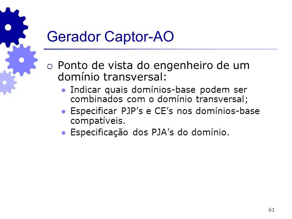 61 Gerador Captor-AO Ponto de vista do engenheiro de um domínio transversal: Indicar quais domínios-base podem ser combinados com o domínio transversal; Especificar PJPs e CEs nos domínios-base compatíveis.
