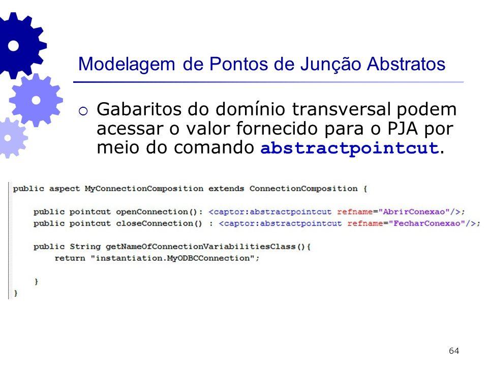 64 Modelagem de Pontos de Junção Abstratos Gabaritos do domínio transversal podem acessar o valor fornecido para o PJA por meio do comando abstractpointcut.