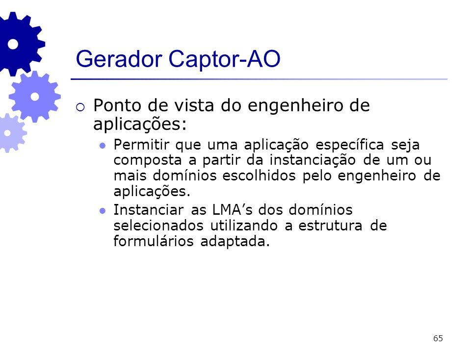65 Gerador Captor-AO Ponto de vista do engenheiro de aplicações: Permitir que uma aplicação específica seja composta a partir da instanciação de um ou mais domínios escolhidos pelo engenheiro de aplicações.