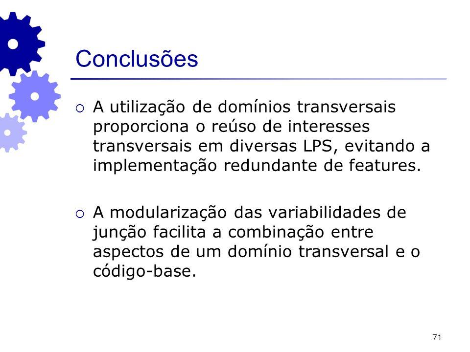 71 Conclusões A utilização de domínios transversais proporciona o reúso de interesses transversais em diversas LPS, evitando a implementação redundant