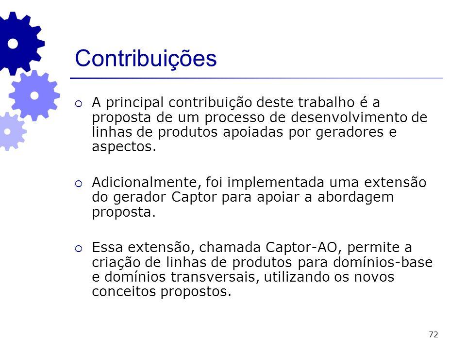 72 Contribuições A principal contribuição deste trabalho é a proposta de um processo de desenvolvimento de linhas de produtos apoiadas por geradores e aspectos.