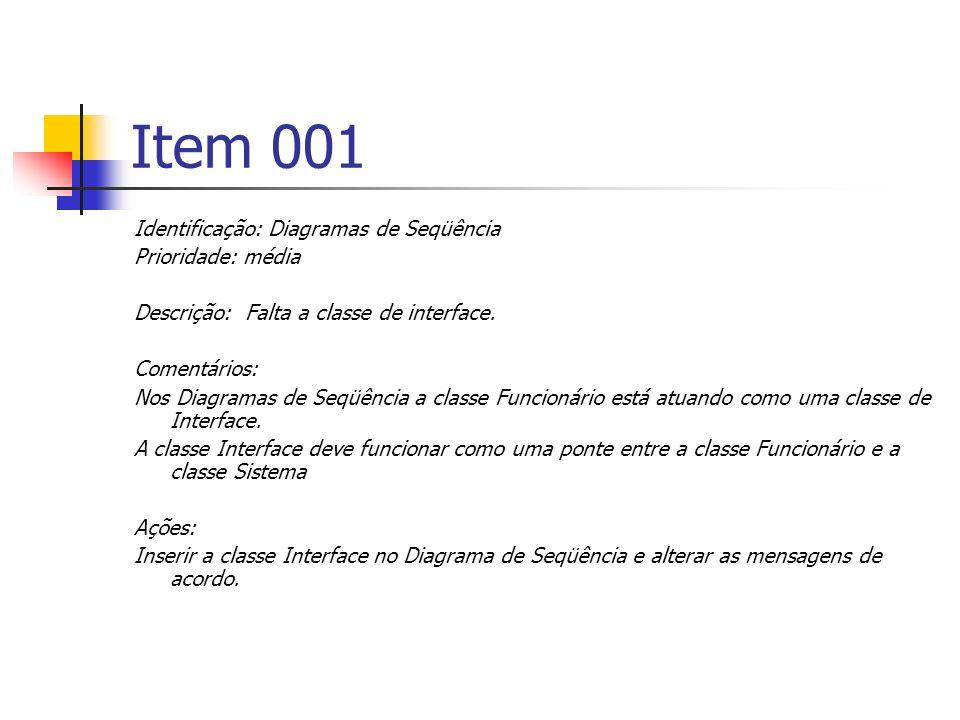 Item 001 Identificação: Diagramas de Seqüência Prioridade: média Descrição: Falta a classe de interface.
