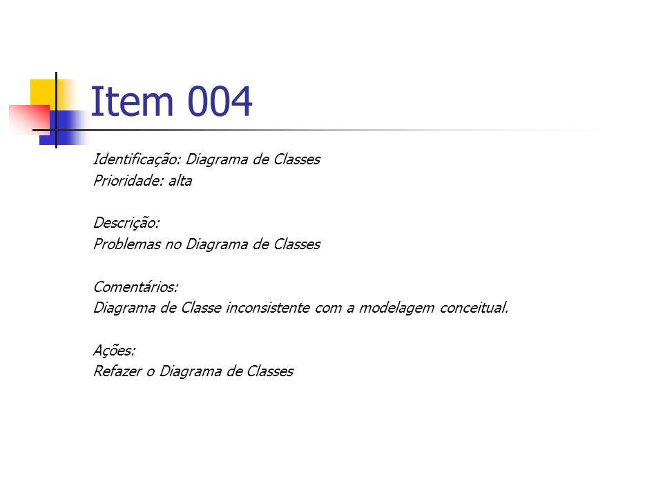 Item 004 Identificação: Diagrama de Classes Prioridade: alta Descrição: Problemas no Diagrama de Classes Comentários: Diagrama de Classe inconsistente com a modelagem conceitual.
