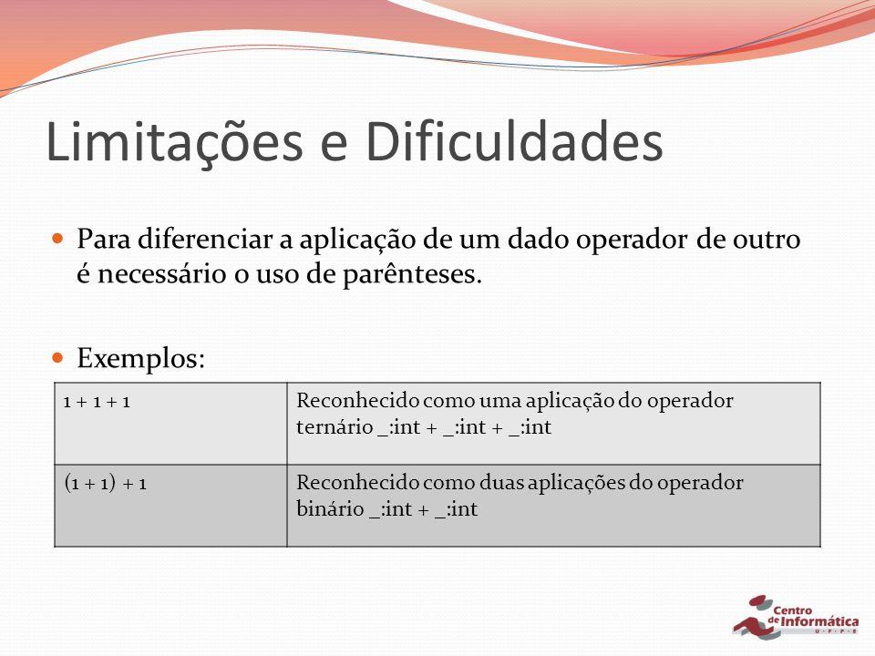 Para diferenciar a aplicação de um dado operador de outro é necessário o uso de parênteses. Exemplos: 1 + 1 + 1Reconhecido como uma aplicação do opera