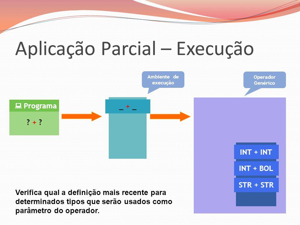 Aplicação Parcial – Execução ? + ? Programa _ + _ Ambiente de execução INT + INT INT + BOL STR + STR Operador Genérico Verifica qual a definição mais