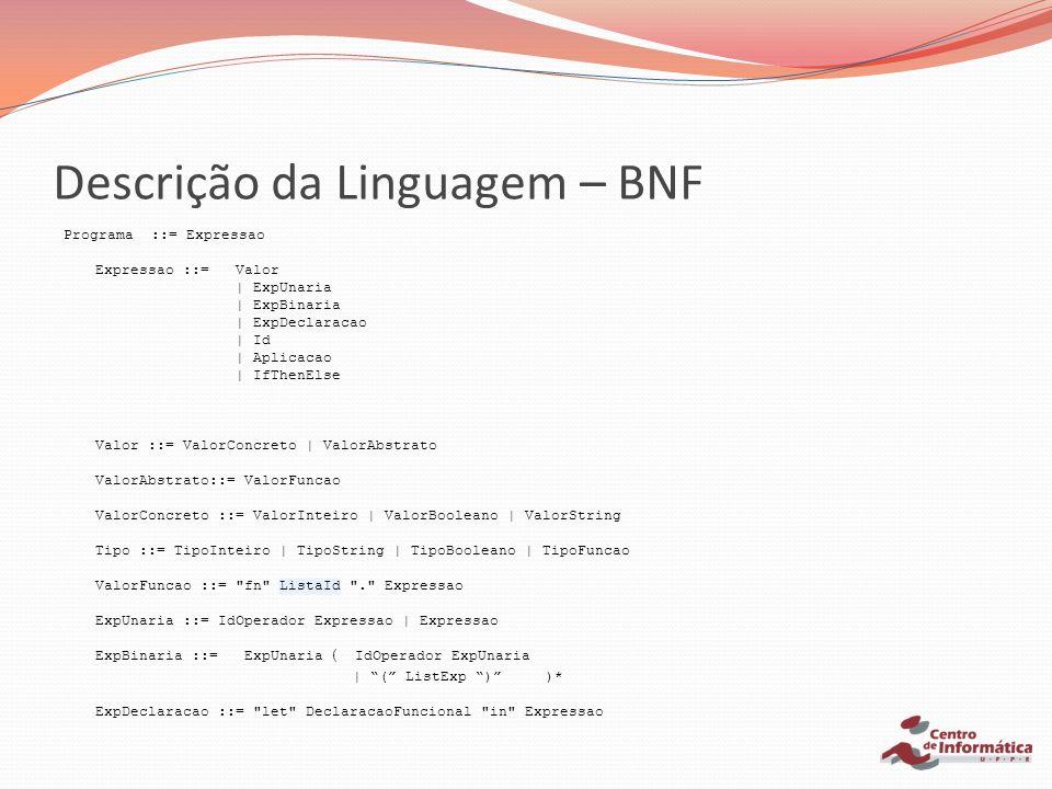 Descrição da Linguagem – BNF Programa ::= Expressao Expressao ::= Valor | ExpUnaria | ExpBinaria | ExpDeclaracao | Id | Aplicacao | IfThenElse Valor :