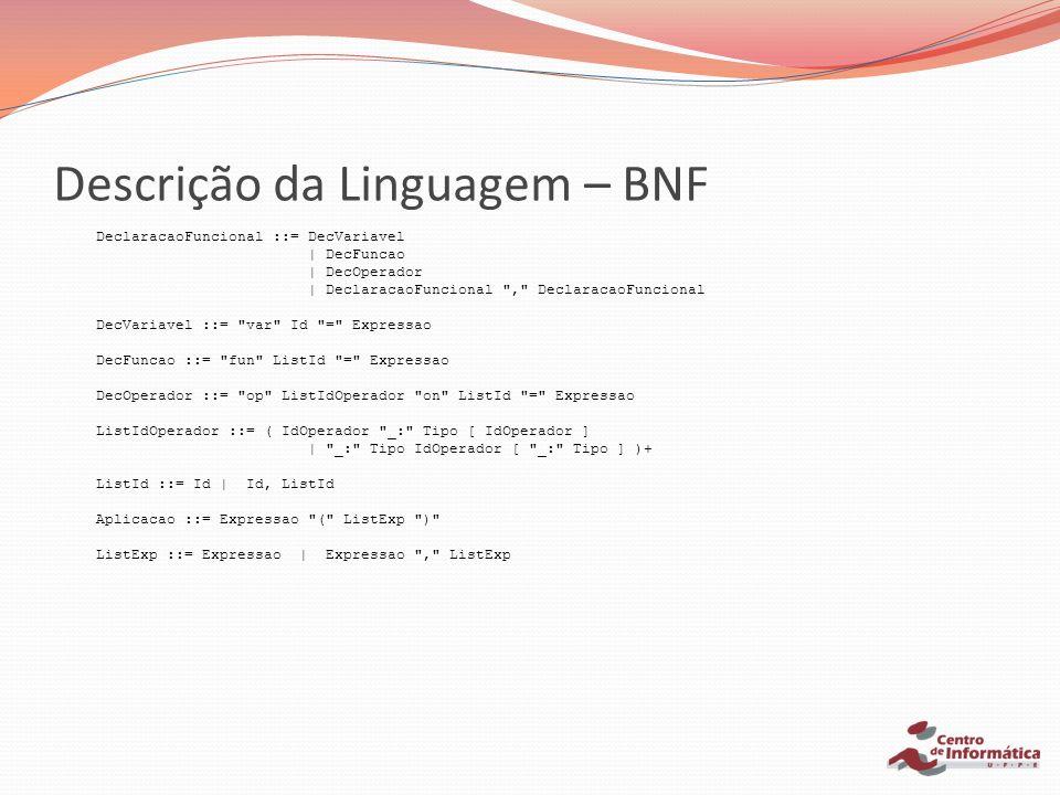 Descrição da Linguagem – BNF DeclaracaoFuncional ::= DecVariavel | DecFuncao | DecOperador | DeclaracaoFuncional