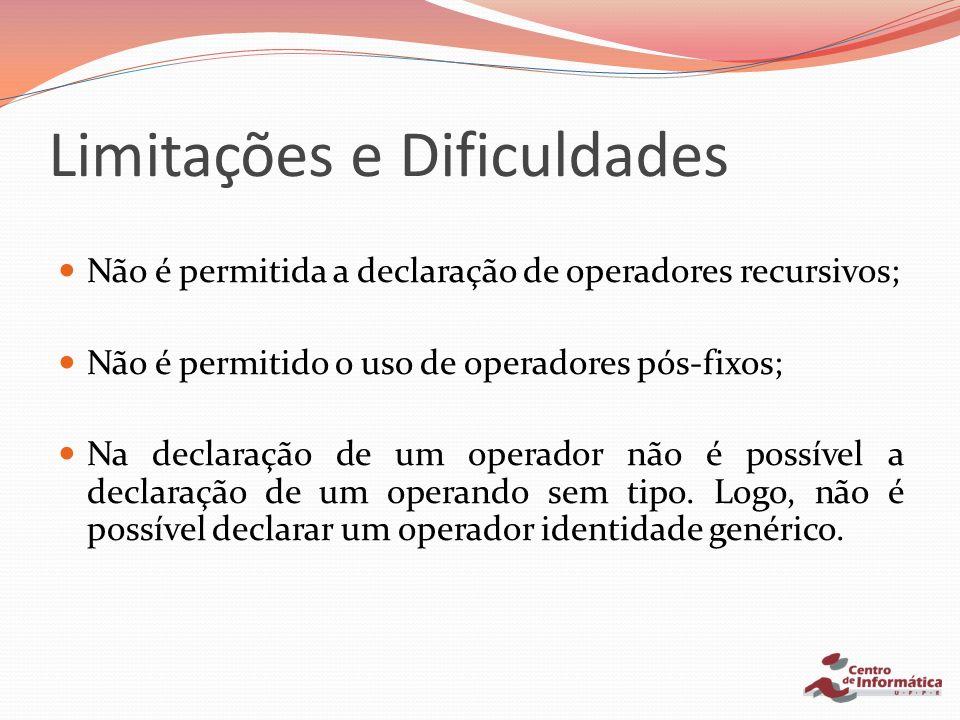 Limitações e Dificuldades Não é permitida a declaração de operadores recursivos; Não é permitido o uso de operadores pós-fixos; Na declaração de um op