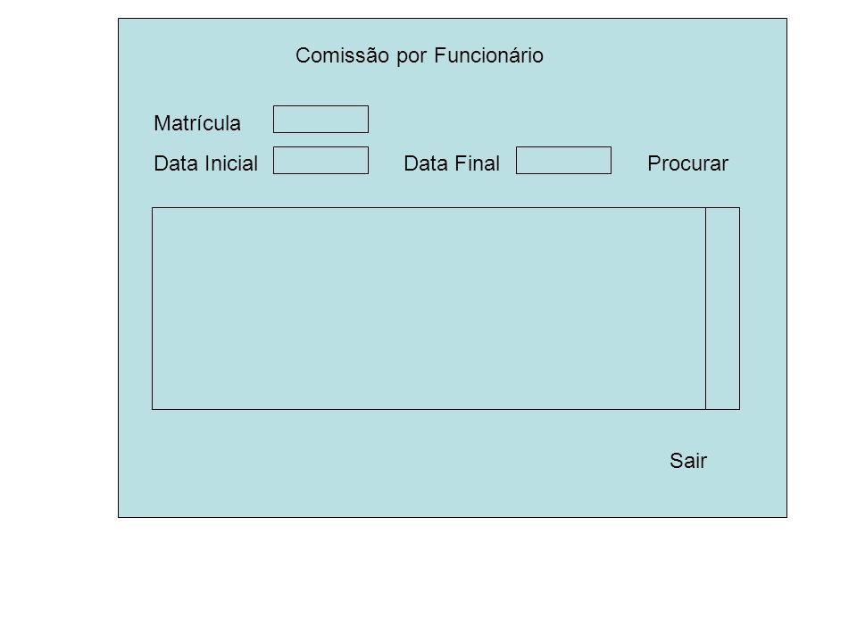 Comissão por Funcionário Sair Procurar Data InicialData Final Matrícula