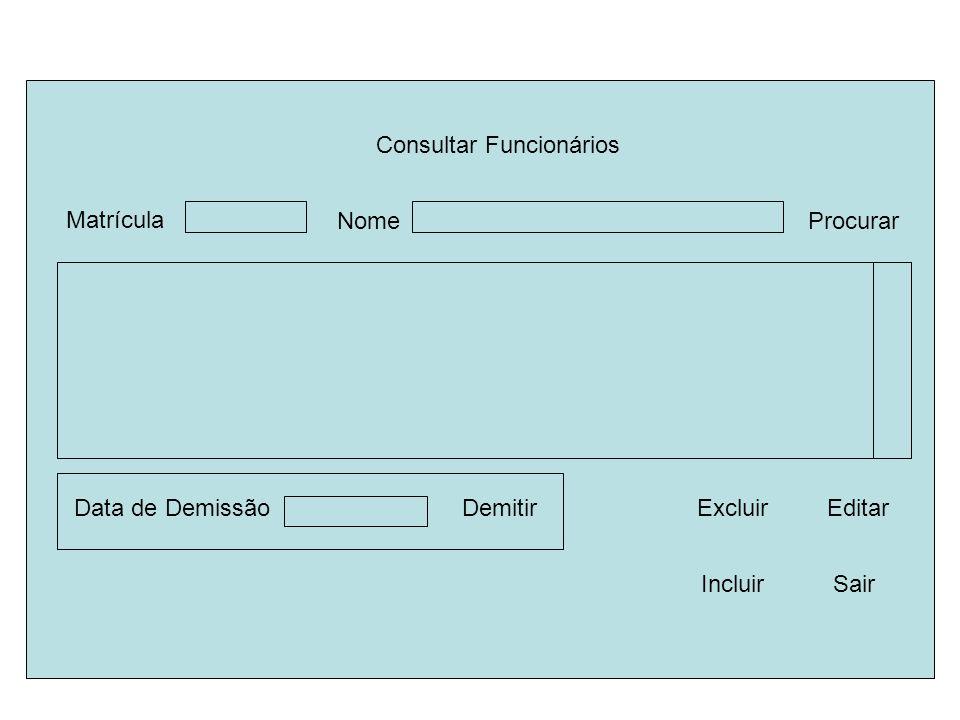 Consultar Funcionários Nome Demitir Sair Procurar Editar Data de Demissão Excluir Matrícula Incluir