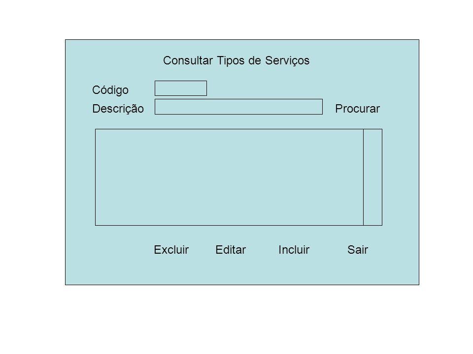 Consultar Tipos de Serviços Descrição ExcluirSair Procurar Editar Código Incluir