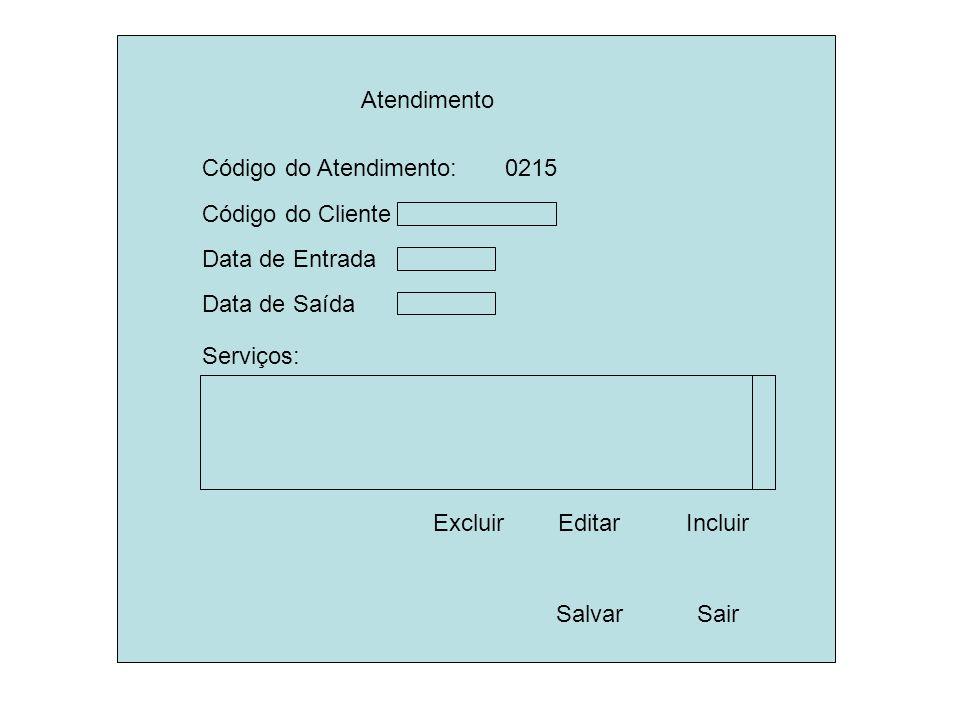 Atendimento Código do Cliente SalvarSair Data de Entrada Código do Atendimento: 0215 Data de Saída Serviços: EditarIncluir Excluir