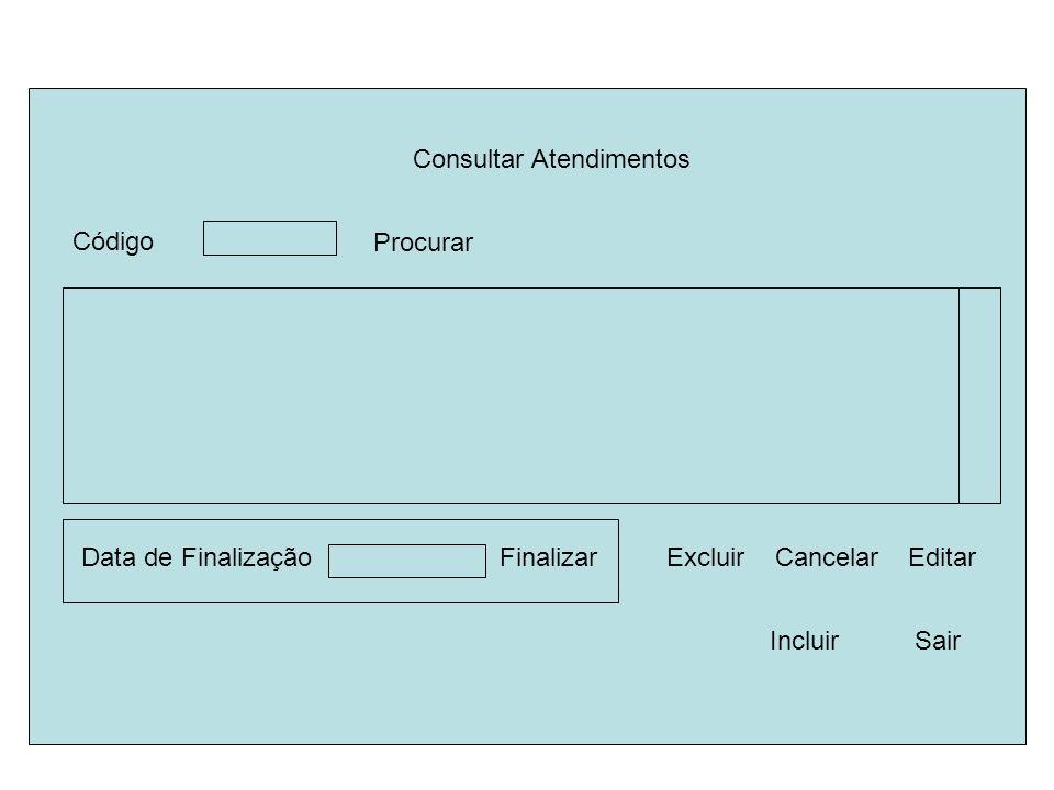 Consultar Atendimentos Finalizar Sair Procurar Editar Data de Finalização Excluir Código Incluir Cancelar