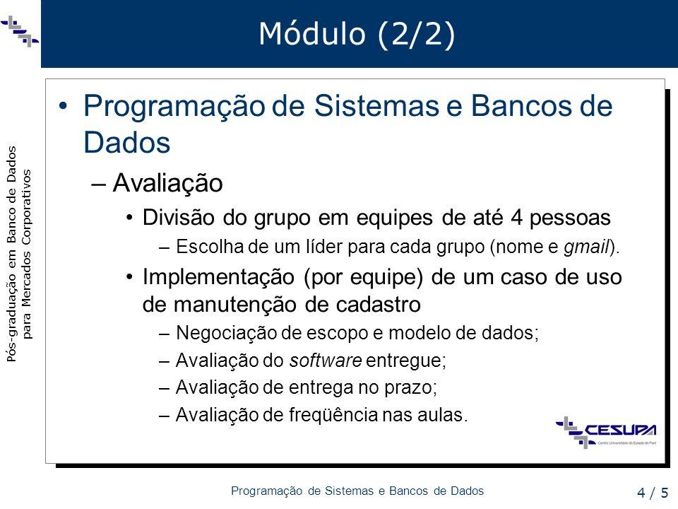 Pós-graduação em Banco de Dados para Mercados Corporativos Programação de Sistemas e Bancos de Dados 4 / 5 Módulo (2/2) Programação de Sistemas e Bancos de Dados –Avaliação Divisão do grupo em equipes de até 4 pessoas –Escolha de um líder para cada grupo (nome e gmail).