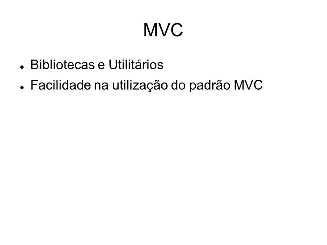 MVC Bibliotecas e Utilitários Facilidade na utilização do padrão MVC