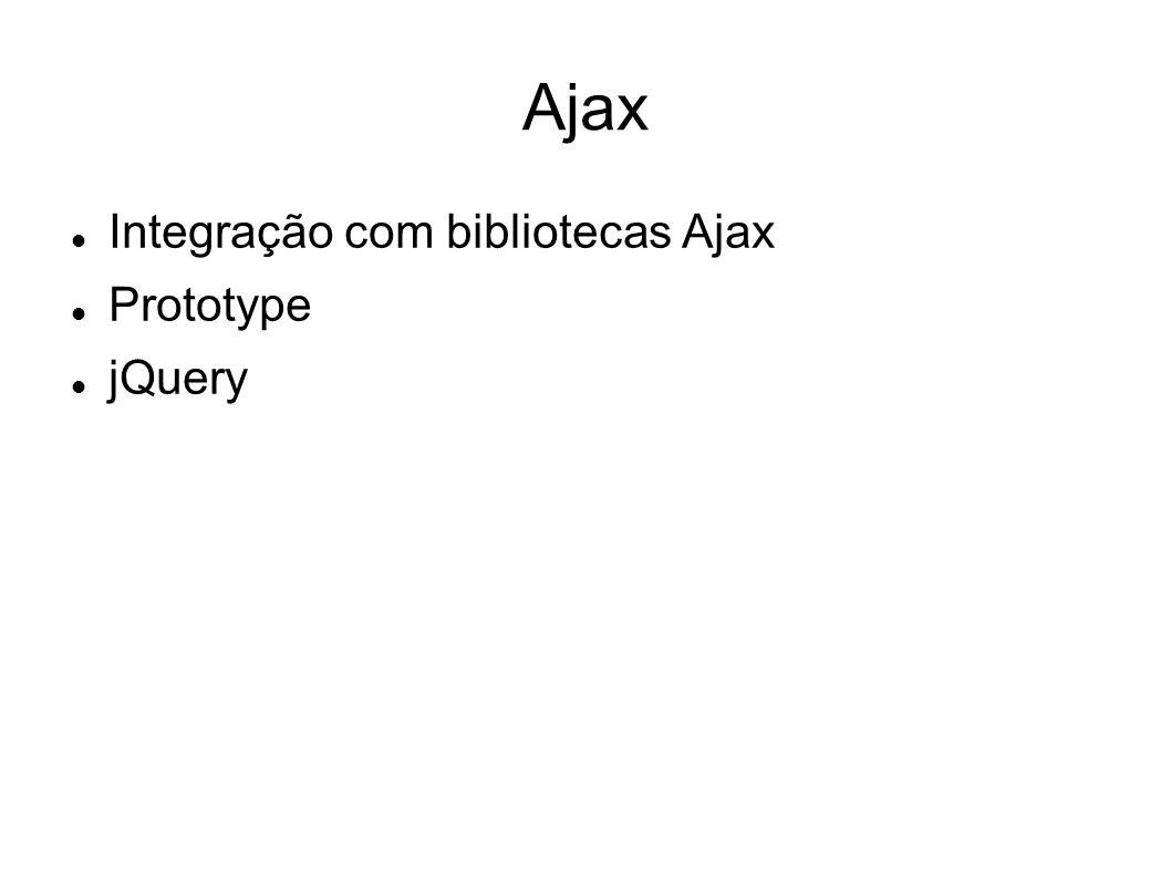 Ajax Integração com bibliotecas Ajax Prototype jQuery