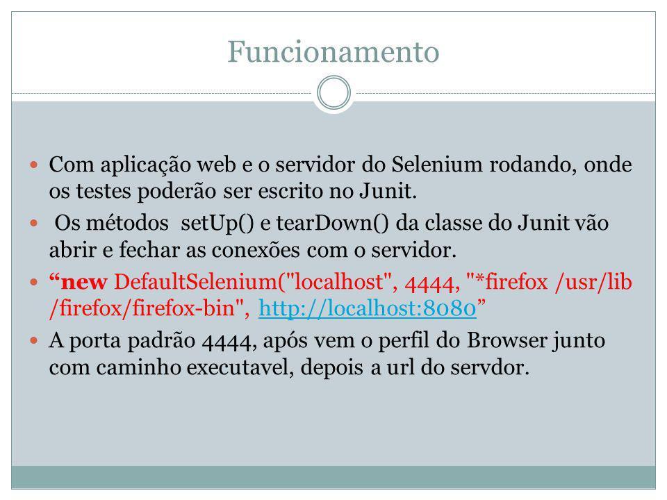 Funcionamento Com aplicação web e o servidor do Selenium rodando, onde os testes poderão ser escrito no Junit. Os métodos setUp() e tearDown() da clas