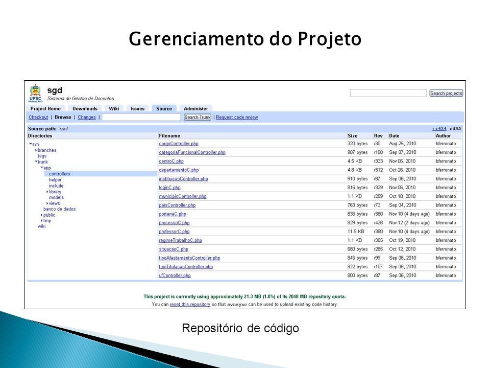 Gerenciamento do Projeto Repositório de código