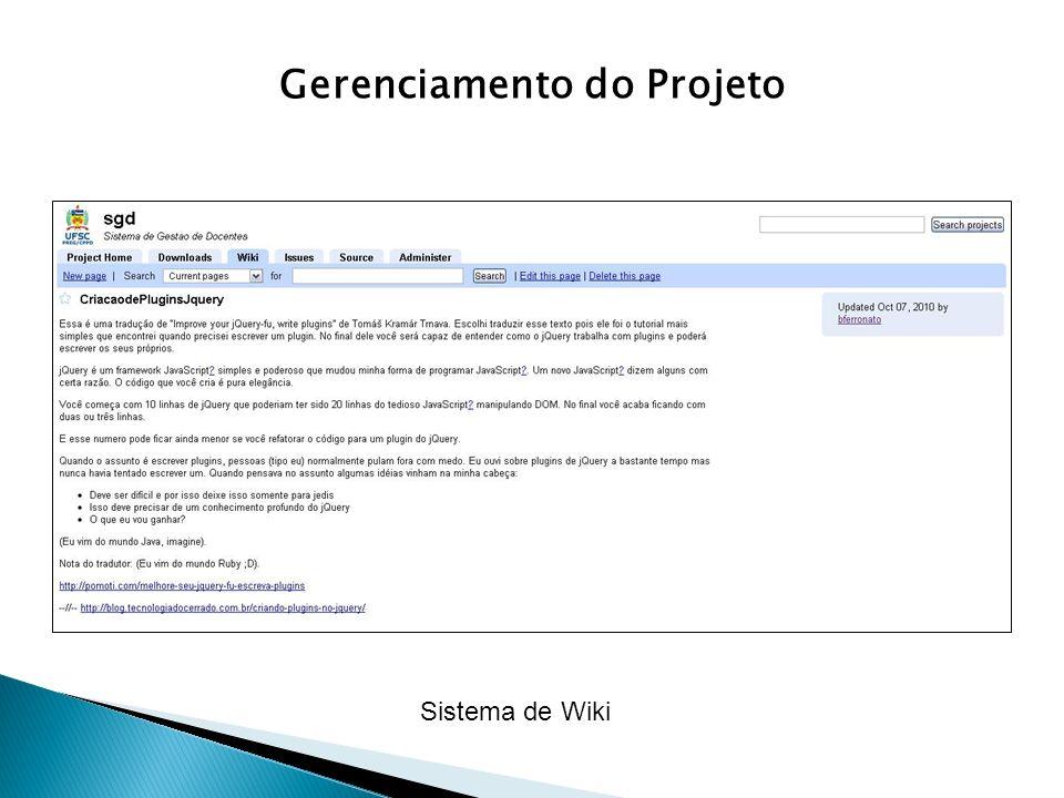 Gerenciamento do Projeto Sistema de Wiki