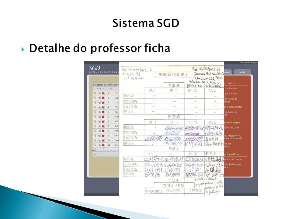 Sistema SGD Detalhe do professor ficha
