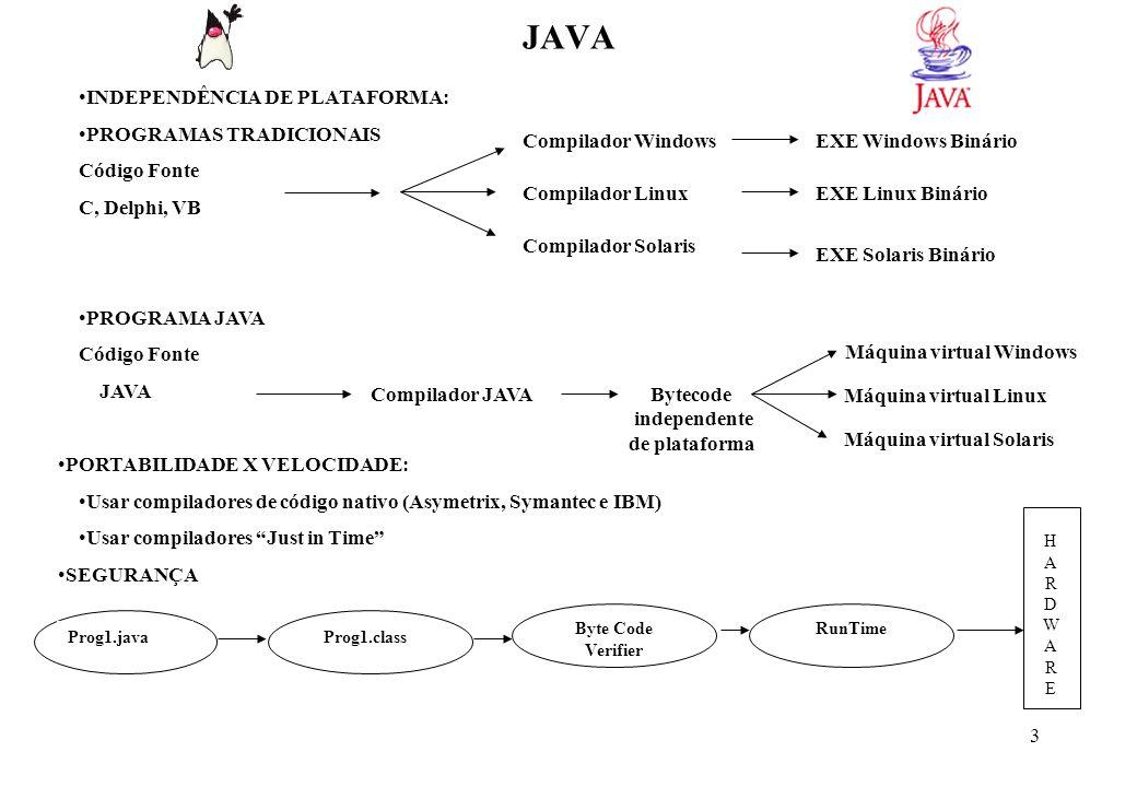 4 JAVA SOFTWARES DOWNLOADS J2SE (Java 2 Standard Edition) – www.java.sun.com/j2se/downloads/index.htmlwww.java.sun.com/j2se/downloads/index.html J2SE v1.5 ( 72 Mb) Documentação: J2SE V1.5 Documentation (45 Mb) Jcreator – www.jcreator.com (2Mb) www.jcreator.com BlueJ – www.bluj.org (2.3 Mb) www.bluj.org INSTALAÇÃO: Instalar a documentação na raiz do JDK Path (Path =...;C:\J2SDK1.5\BIN) (FILE NOT FOUND !) JCreator/BlueJ – Informar as pastas do J2SDK e documentação VARIAÇÕES APLICATIVOS DESKTOP (caractere e gráfico) APLICATIVOS WEB: APPLETS, SERVLETS E JSP EJB NOÇÕES DE ORIENTAÇÃO A OBJETO Motivação: Confiabilidade, Produtividade e Manutenibilidade Estratégias: Encapsulamento, Herança e Polimorfismo A Classe e o Encapsulamento métodos Classe propriedades