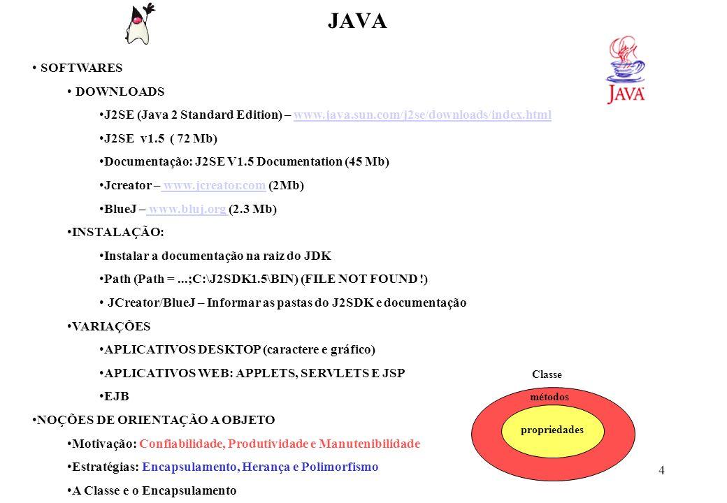 15 JAVA Uso do teclado para entrada de dados usando Streams (JDK 1.4): import java.io.*; - Informa que será importado o pacote (conjunto de classes) io com todas as suas classes além do pacote default java.lang.* InputStreamReader obj1 = new InputStreamReader (System.in); - Cria um objeto (obj1) de fluxo de dados para receber da entrada padrão (System.in) um conjunto de bytes e converte- los em caracteres BufferedReader obj2 = new BufferedReader (obj1); - Cria um buffer a partir do fluxo de entrada de caracteres a fim de armazená-los.