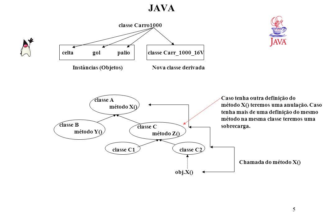16 JAVA Exceções em Java: É a forma em Java de se escrever programas robustos (que possam tratar os possíveis erros sem abortar ).