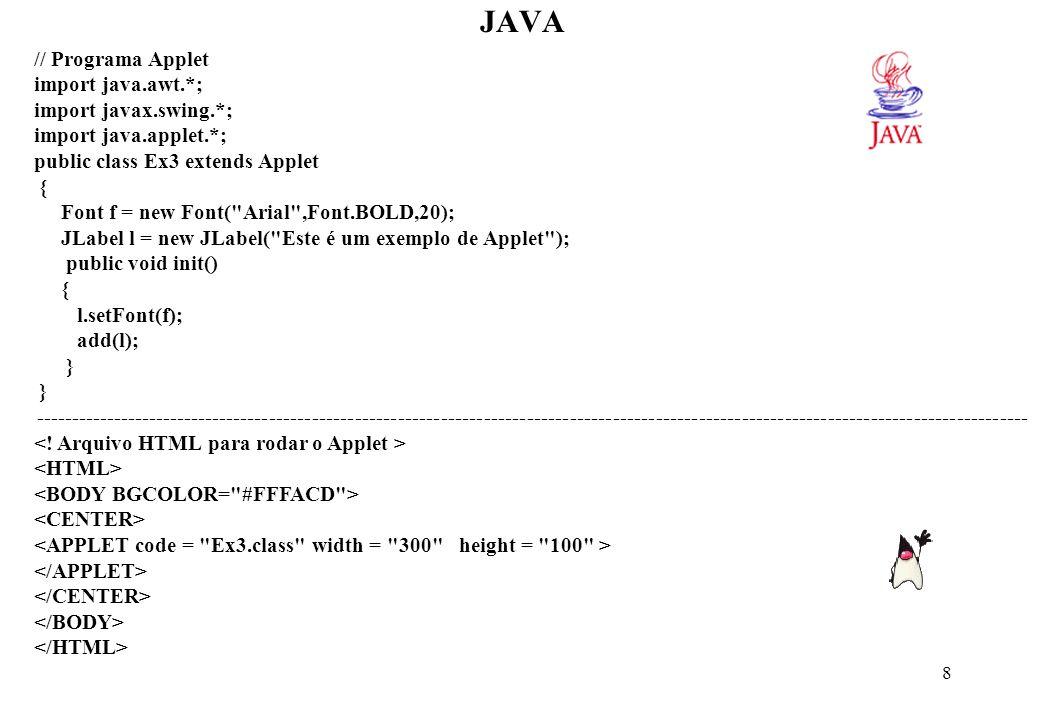 29 JAVA Ex: public class Data { private int dia, mês, ano; public void amanha() { this.dia = this.dia + 1; } } // O this é desnecessário pois java já associa as variáveis e métodos ao objeto Ex: class TestaEscopo { int teste = 10; void imprimeTeste() { int teste = 20; System.out.println(Teste = + teste); } // this.teste; public static void main(String args[]) { TestaEscopo st = new TestaEscopo(); st.imprimeTeste(); } } Chamando outro construtor da mesma classe: A utilização de this como primeiro comando em um construtor indica a chamada de outro construtor sobrecarregado da classe.