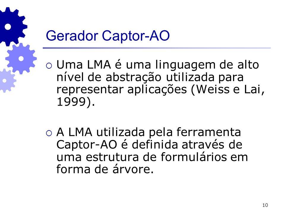 10 Gerador Captor-AO Uma LMA é uma linguagem de alto nível de abstração utilizada para representar aplicações (Weiss e Lai, 1999). A LMA utilizada pel