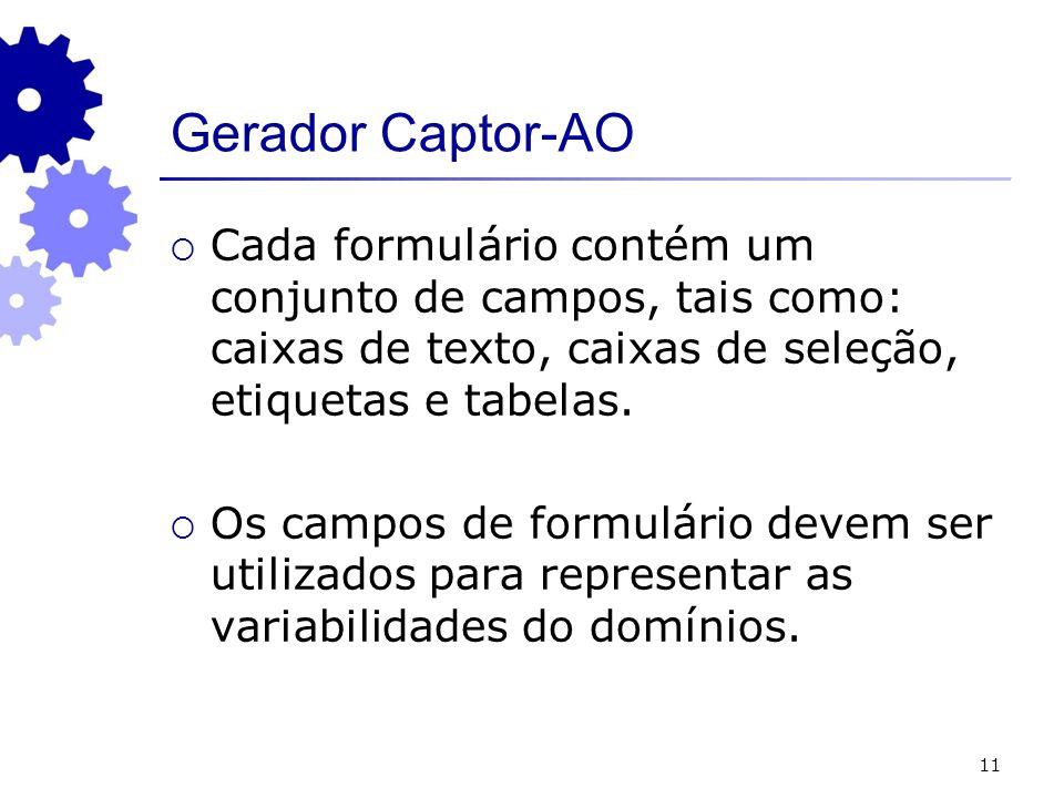 11 Gerador Captor-AO Cada formulário contém um conjunto de campos, tais como: caixas de texto, caixas de seleção, etiquetas e tabelas. Os campos de fo